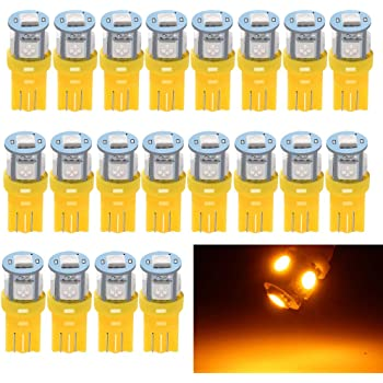 EverBright 20-Pack 194 Led Bulb Amber, T10 194 168 2825 W5W 5 SMD 5050 LED Bulb for Car Interior Lights Wedge License Plate Light Instrument Lamp Dome Reading Light Trunk Interior Lamp, DC-12V