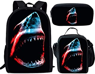 FUIBENG 3 Pieces Angry Shark Large Backpack with Lunch Box and School Pencil Case