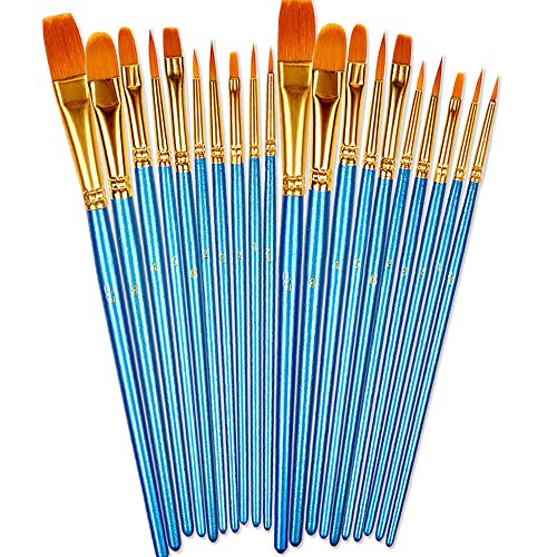 BOSOBO Paint Brushes Set, 2 Pack 20 Pcs Round Pointed Tip Paintbrushes...
