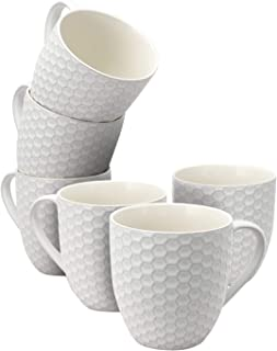Elama Geometric Embossed Stoneware Honeycomb Pattern Coffee and Tea Mug Gift Set, 6..