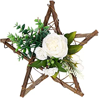 Homeness Rustic Wall Decor - Artificial Flowers Garland, Star Shaped Wooden Hanging Hooks, Hemp Rope, Home Patio Garden Kitchen Restaurant Wall Hanging Decoration Craft Hanging Wreaths