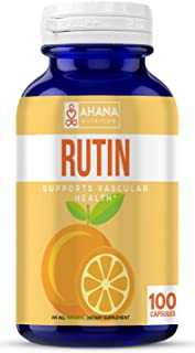 Ahana Nutrition Rutin 500mg Capsules - Antioxidant Rich Rutin Supplement to Support Vascular Health and Aid Absorption of Vitamin C (100 Capsules)