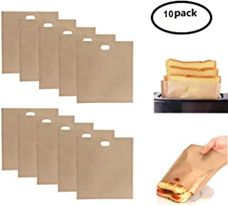 Non Stick Reusable Toaster Bags,Grilled Cheese Microwave Oven Toaster Bags,Heat Resistant,Gluten Free,FDA Approved, Perfect for Sandwiches Pastries Pizza Slices Chicken Nuggets,10-Pack