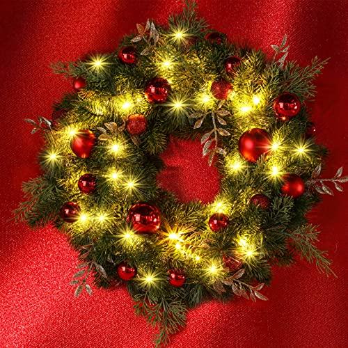 GlobaLink Weihnachtskranz 40CM mit 40 LED warmweiß Türkranz , Christmas Wreath Batteriebetrieben Türkranz Winter mit rotfarbener Glasur Weihnachten Deko für Feste Advent Türe Weihnachten