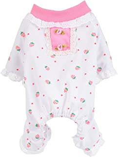 Dog Pajamas,Lookvv Sweet Strawberry Print Pet Clothes Jumpsuit Pjs Apparel Soft Sleepwear for Girl