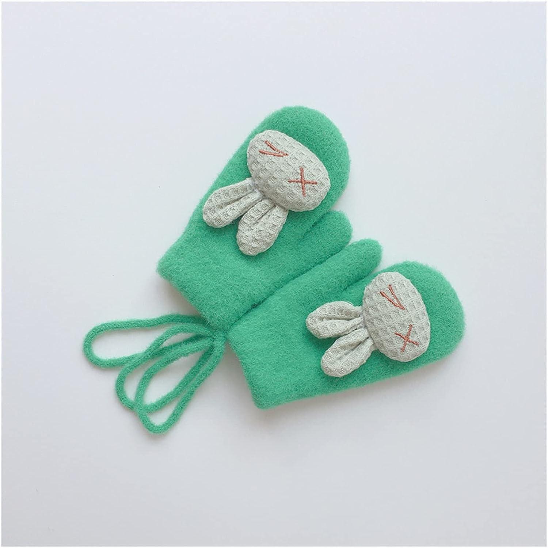 JSJJAWS Winter Gloves Winter Warm Baby Gloves Cartoon Animal Kids Gloves for Baby Girl Boy Soft Nylon Children Mittens (Color : Green)
