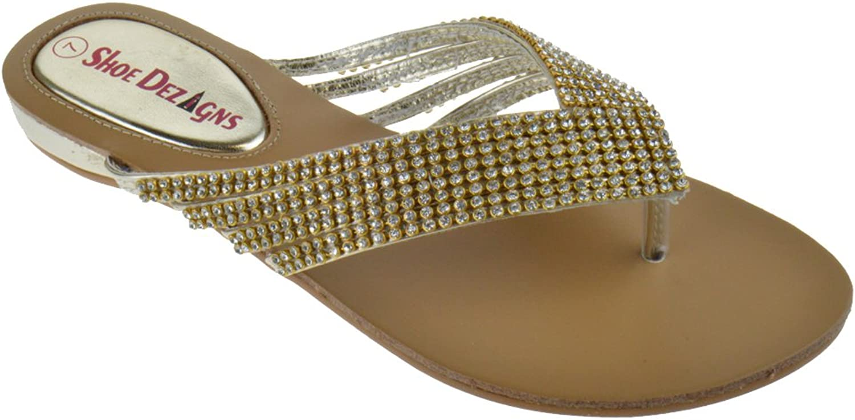 shoes Dezigns Kylee 09 Womens Rhinestone Embellished Thong Flat Sandals