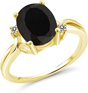 14K Yellow Gold Black Onyx & White Diamond Women's Ring 2.53 Ct Oval (Available 5,6,7,8,9)