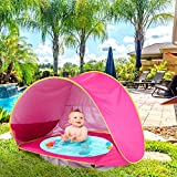 Baby Beach Tent with Pool,2021 Upgrade Easy Fold Up & Pop Up Unique Ocean World Baby Tent,50+ UPF UV Protection Outdoor Tent for Aged 3-48 Months Baby Kids Parks Beach Shade (Pink)