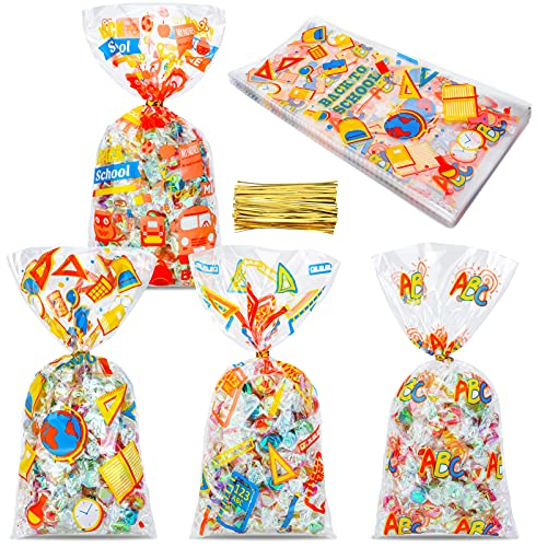 Konsait 100pcs Back to School Party Cellophane Bags, Clear Candy Cookie Treat Bags with Twist Ties for Bakery Biscuit Chocolate Snacks,Holiday Goody Bags, Back to School Party Favors Supplies
