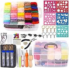 254 Pcs Needle Felting Kit - Complete Needle Felting Tools and Supplies with Felt Wool 50 Colors, Felt Molds, High Density Foam Pad Storage Box for DIY Craft Animal Home Decoration