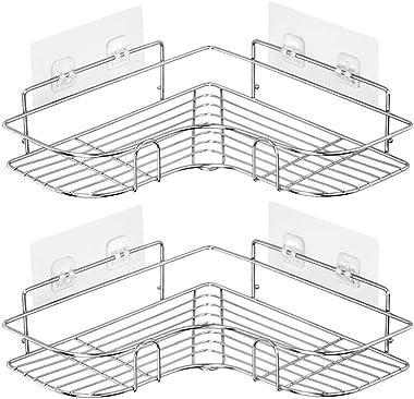 Laigoo 2 Pack Corner Shower Caddy Adhesive Bathroom Shelves Floating Shelves for Kitchen/Bathroom Organizer/Decor(Stainless Steel)