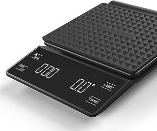 Oneon ドリップスケール 3kg デジタルスケール タイマー付き 計量器 はかり デジタル 0.1g 高精度LED電子スケール 業務用(ブラック)