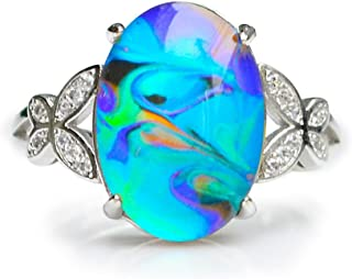 Opalescent Swirl Color Changing Oval Crystal Stone Brass Mood Ring Size Adjustable