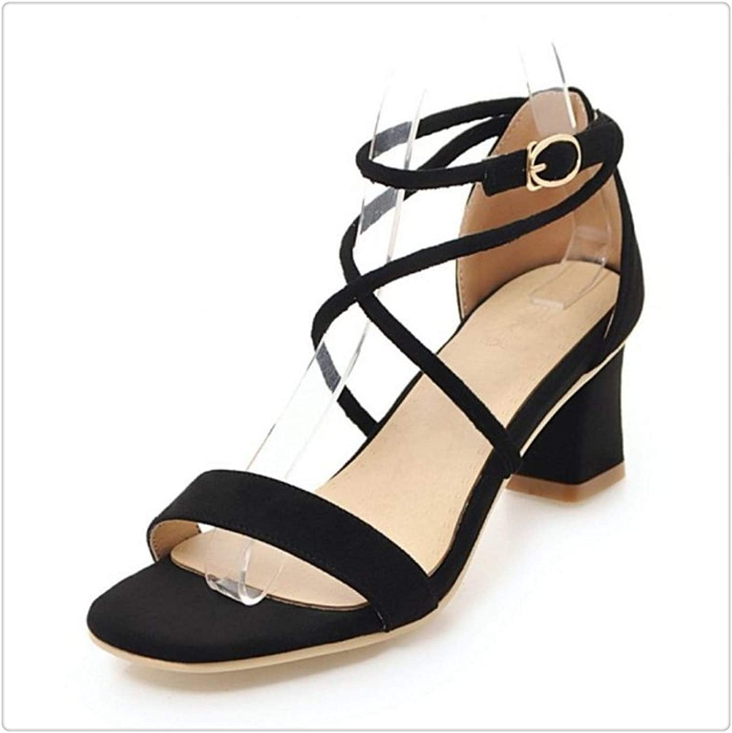 KKEPO& 4 colors Size 33-43 Vintage Women High Heel Sandals Women Ankle Strap Open Toe Thick Heel Sandals Summer Club shoes Black 2 9