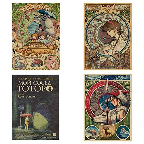SGOT Anime Poster, My Neighbor Totoro Poster, Miyazaki Hayao Patinting, Bar Cafe Poster, Decorative Painting Poster Wandgemälde 51x36cm(4 STK)