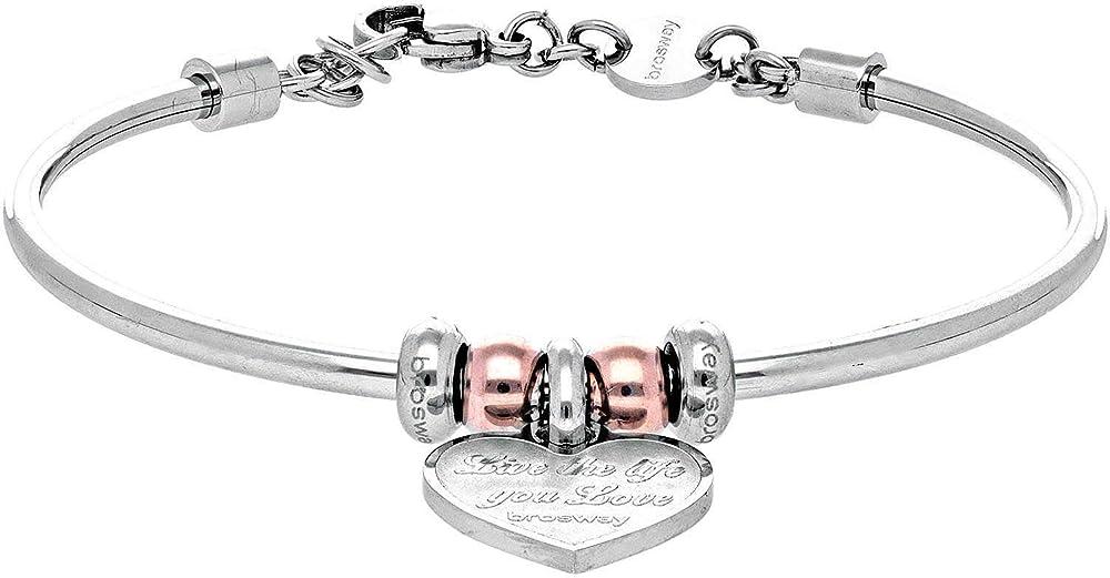 Brosway tres jolie trendy bracciale per donna in acciaio 316L, pvd oro rosa e pendente a forma di cuo BTJMS684