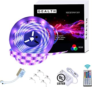 G · E · A · L · T · H LED Strip Lights, Waterproof 16.4ft Color Changing Light Strip 5050 SMD RGB LED Flexible Strip Lights Decoration Lighting 44 Keys IR Remote Controller UL Power Adapter