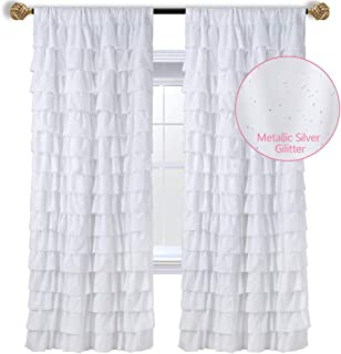 WestWeir White Ruffle Curtains - Set of 2 Panels, Silver...