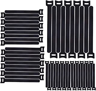 H HOME-MART 50pcs 7.9inch Reusable Cable Ties, Cable Management, Cable Straps Adjustable Releasable Tidy Wrap Hook and Loo...