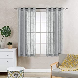 Linen Textured Gray Sheer Curtains for Living Room Bedroom Open Weave Sheer Voile Window Curtains Grommet Top Curtain Panels One Pair 95 Inch
