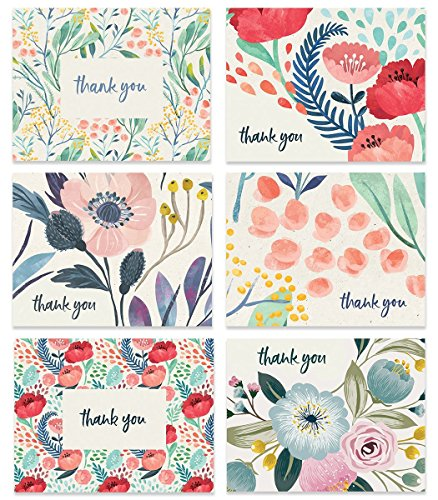 Boho Floral Thank You Cards (Set of 48) Assorted 6 Designs Any Occasion Beautiful Bridal Shower Baby Folded Notecards & Envelopes Variety Blank Inside Personal Stationery Excellent Value VTA0005