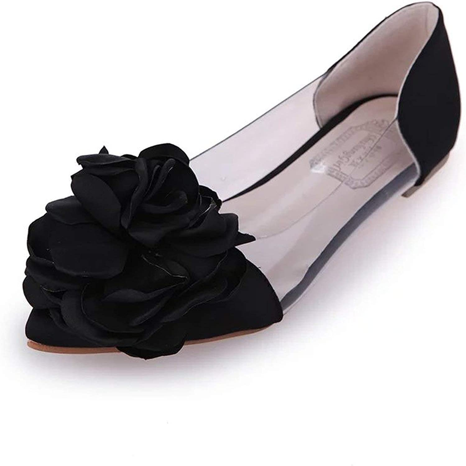 White Island Soft Comfortable shoes Sweet Flower Pointed Women's shoes Flat Heel Single shoes Shallow Mouth Flat shoes Q303,Black,4