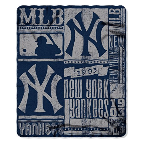 MLB New York Yankees Strength Fleece Throw Blanket 50-inch by 60-inch, Blue