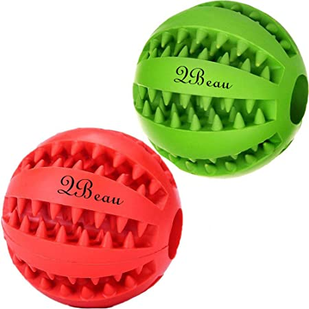 QBeau 犬 おもちゃ 犬 ボール 噛むおもちゃ 犬用 玩具ボール ラバー製 知育玩具 餌入れ おやつボール 運動不足やストレス解消 ダ イエット レーニングなど 犬遊び用【グリーン + レッド】 ボールは2個セット