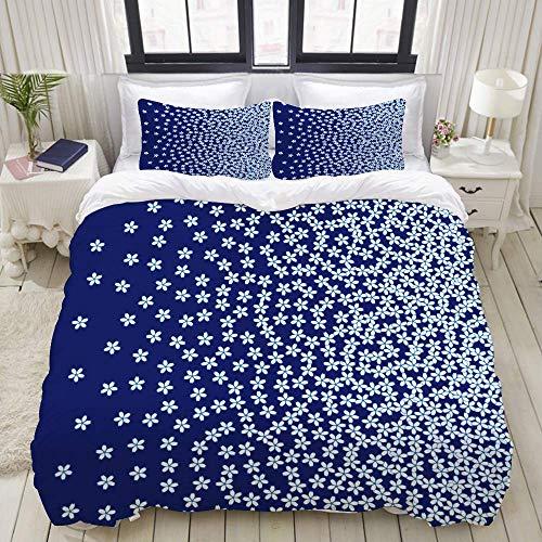 Duvet Cover Set, Sakura Cherry Vector Pattern Forming Gradient, Colorful Decorative 3 Piece Bedding Set with 2 Pillow Shams