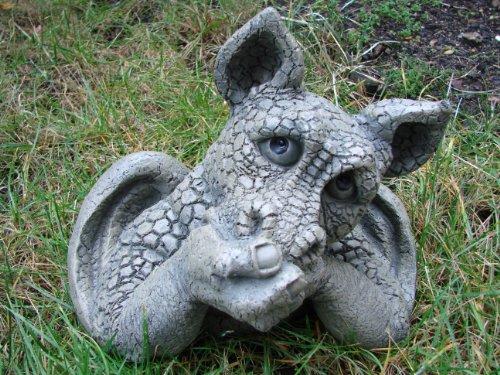 Unbekannt Großer Gartendrache nachdenklich sitzend Drache Figur Gargoyle 30 cm