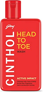 Cinthol Head to Toe, 3-in-1 Wash (Shampoo, Face and Body) - ACTIVE IMPACT, 190ml