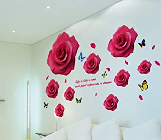 Living room 3D stereo warm bedroom wall flower wall sticker wallpaper room wallpaper self-adhesive wall decoration sticker...