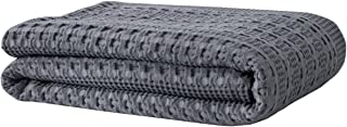 PHF Cotton Waffle Weave Blanket for All Season Home Decoration Cozy Soft Comfort Queen Size Dark Grey
