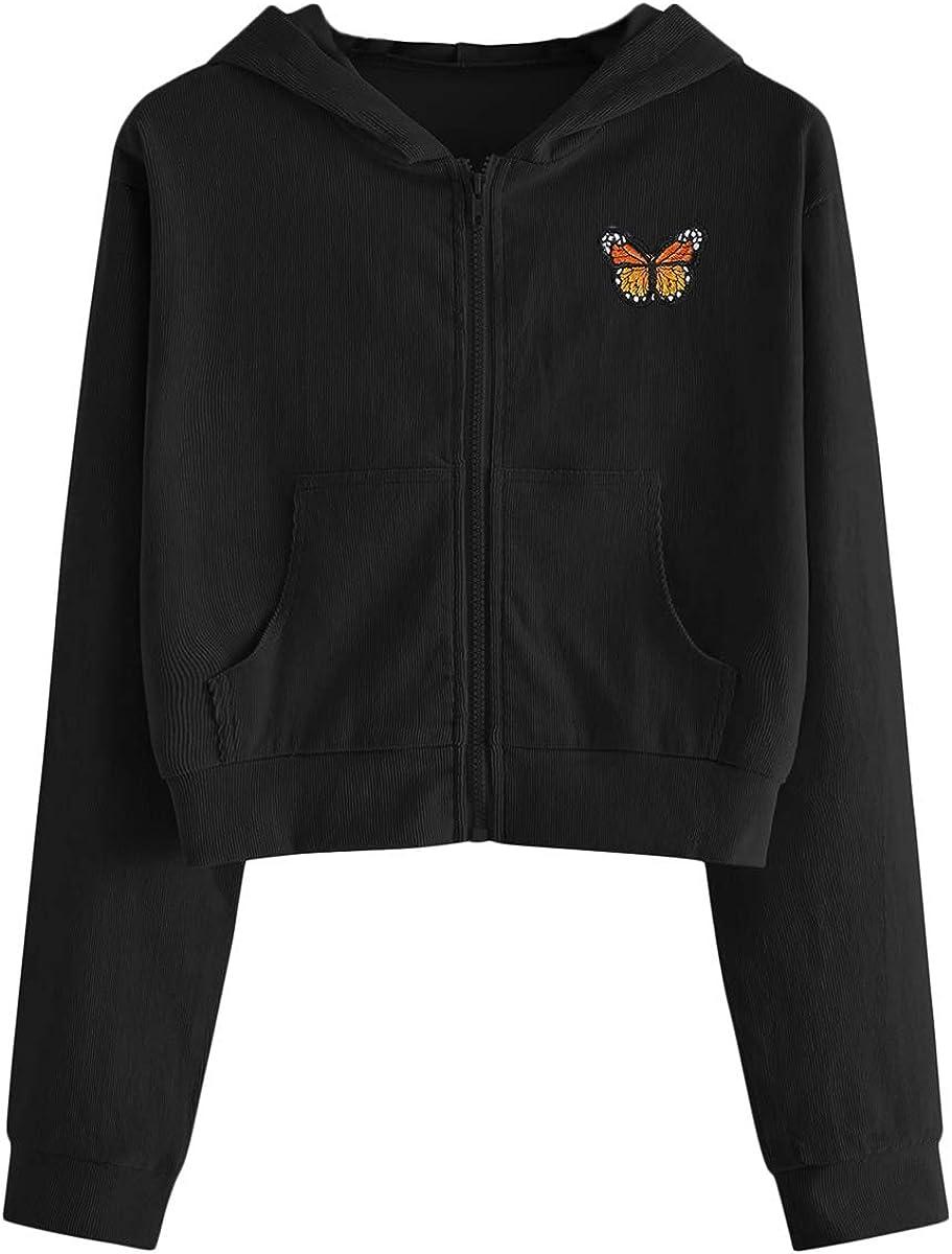 ROMWE Women's Casual Butterfly Pattern Zip Up Cropped Hoodie Jacket Sweatshirt