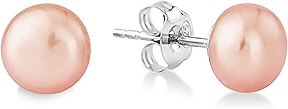 J. Fée Boucles d'oreille à tige en Argent massif 925 AAA Avec perle de culture d'eau douce japonaise de qualité supérieure Rose et blanc