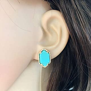 MWQLF Gold Druzy Stud Earrings Hexagon Acrylic Resin Earing Fashion Brand Women Jewelry Party Wedding Gift