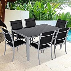 MIADOMODO 7-piece aluminum garden furniture garden furniture seating group with glass table (color choice)