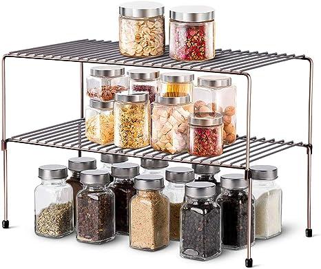 Amazon Com Wosovo Expandable Stackable Cabinet Shelf Kitchen Counter Rack Organizer Multipurpose Pantry Bedroom Bathroom Storage Racks 2 Pack Home Improvement