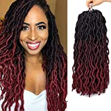 Eliza Wavy Gypsy Locs Ombre Crochet Hair 18' 8Packs/Lot Goddess Locs 100% Kanekalon Fiber Faux Locs African Roots Dreadlocs Synthetic Braiding Hair Extensions for Black Women(18',OM3T99J/530)