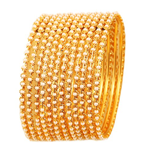 Touchstone Pearl Armreif-Kollektion Traditionelle und exklusive Armreifen aus dünnem Designerschmuck, verziert mit Kunstperlen für Damen 2.25 Set von 12 Gold