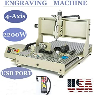 BoTaiDaHong 4-AXIS USB 6090 Router Metal Engraver Milling Drilling Machine 3D Spindle 2200W 3D Carving Drilling Machine 2.2KW Cutting with Remote Control For Wood Working Cutting Mill