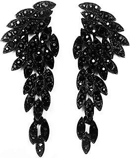 Art Deco 1920's Great Gatsby Angel Wings Eagle Wings Rhinestone Retro Statement Earrings Dangling Earrings Chandelier Long...