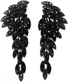 Art Deco 1920's Great Gatsby Clip-On Earrings Angel Wings Eagle Wings Statement Dangle Earrings Wedding Bridal Prom Crystal Chandelier Long Drop Earrings Beauty Pageant Drag Queen Clip On Earrings