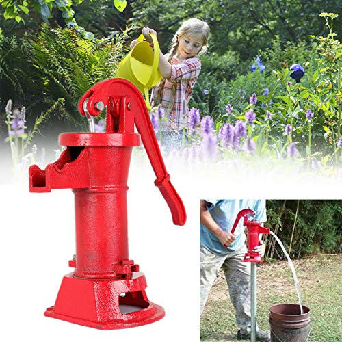 TryE Cast Iron Pitcher Pump Hand Water Pump Manual Well Press Suction for Well, Outdoor, Yard, Pond, Garden, Red