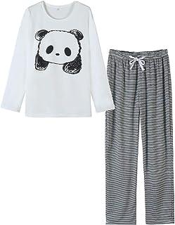 VENTELAN Women Pajamas Cute Sleepwear With Panda Pattern Long-Sleeved Loungewear