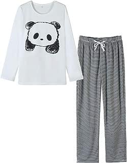 Women's Cute Panda Striped Long Sleeve Sleepwear Pjs Pajama Set Nighty