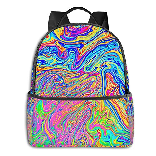 Rucksack Freizeit Damen Herren, Regenbogen von Seife erstellt Campus Kinderrucksack, Daypack Schulrucksack Sportrucksack Tablet Tasche 15,6 Zoll