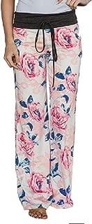 Lilly Posh Women's Comfy Stretch Floral Drawstring Palazzo Wide Leg Lounge Pants