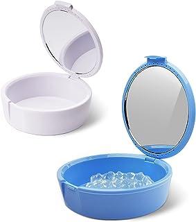 Y-Kelin Retainer Case met spiegelhouder container gedeeltelijke gebit opbergdoos (blauw+wit)